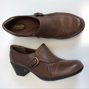 Clarks | bendables brown leather clogs 10